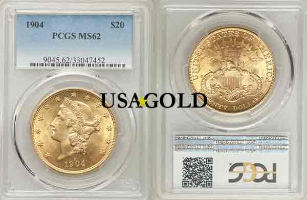 U.S. $20 Liberty gold coin, MS 62