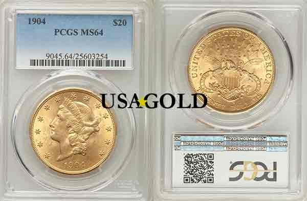 U.S. $20 Liberty gold coin, MS 64