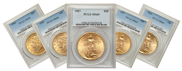 $20 Gold Piece five-coin index set (Graded)