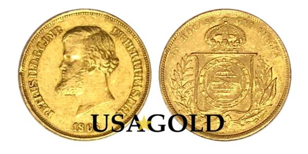 Brazil 10,000 Reis Dom Pedro Gold Coin minted 1853-1889