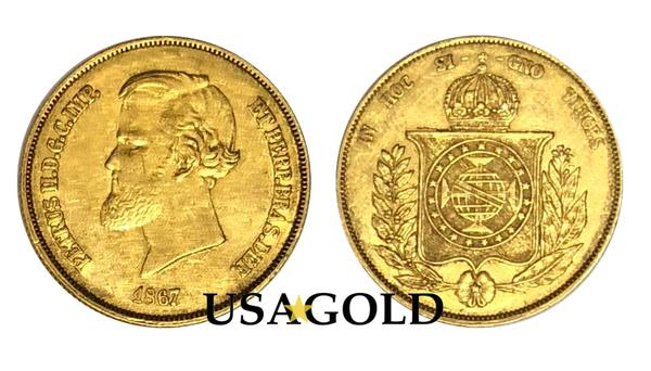Brazil 20,000 Reis Dom Pedro Gold Coin minted 1853-1889
