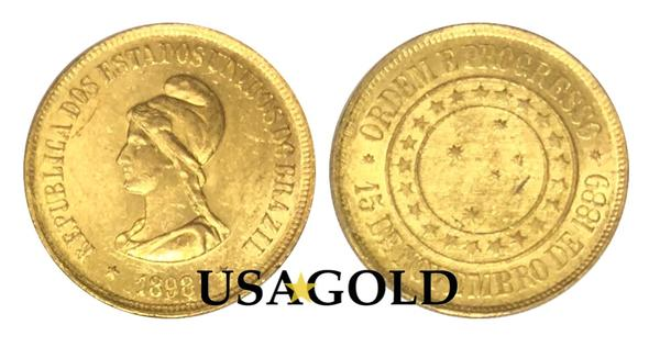 Brazil 20,000 Reis Gold Coin minted 1889-1922