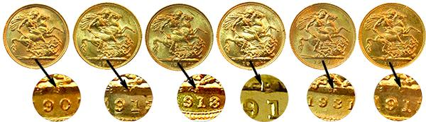 British Gold Sovereign Gold Coin Mint Mark Set