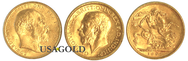 British Sovereign Gold Coin King Edward/George pre-1933 Uncirculated