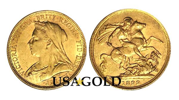 British Sovereign Gold Coin Queen Victoria 'Veil Head'
