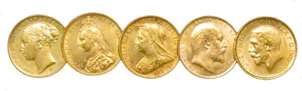 British Gold Sovereign Five Coin Type Set