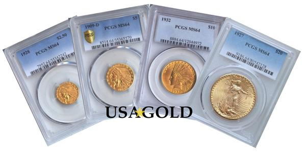 U.S. Indian/St. Gaudens Four Coin Type Set MS64 PCGS/NGC
