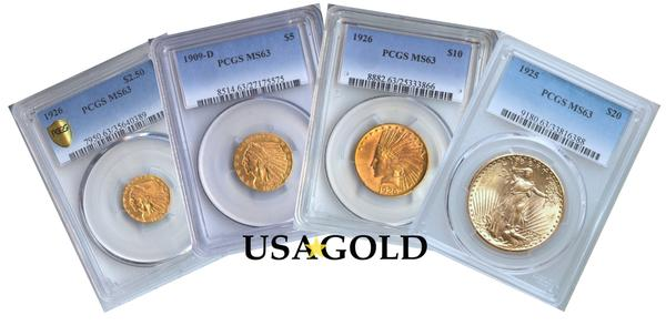 U.S. St. Gaudens/Indian Four Coin Type Set MS63 PCGS/NGC